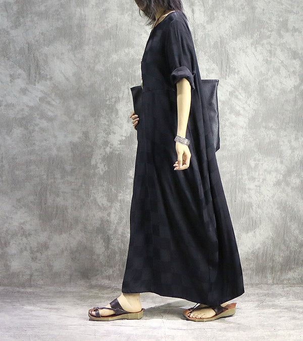 Black Vintage Loose Maxi Dresses Women Casual Spring Clothes Q14013