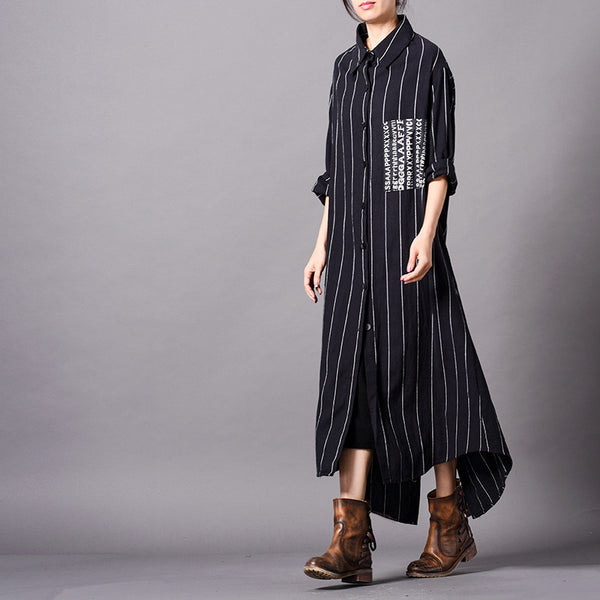 Black Loose Cotton Linen Wind Coat Women Spring Jacket C28015