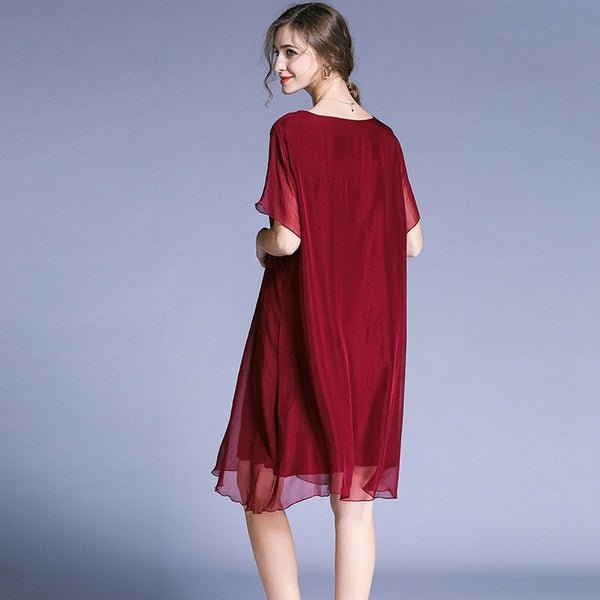 Plus Loose Chiffon Dresses Casual Women Clothes For Summer 6523