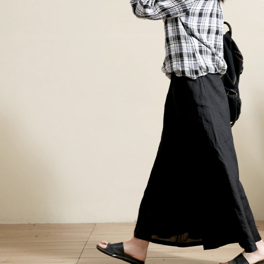 Loose Black And White Wide-leg Pants Women Casual Linen Trousers 3229