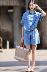 Korea Style Blue Cowboy Two Piece Shirt With Shorts U6635