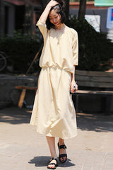 Casual Yellow Plaid Cotton Maxi Dresses Women Summer Clothes Q2331