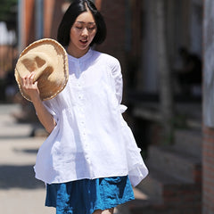 Casual White And Black Linen Shirt Women Summer Blouse C2258