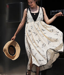 Elegant High Waist Beige Floral Maxi Chiffon Dresses For Summer Q9255