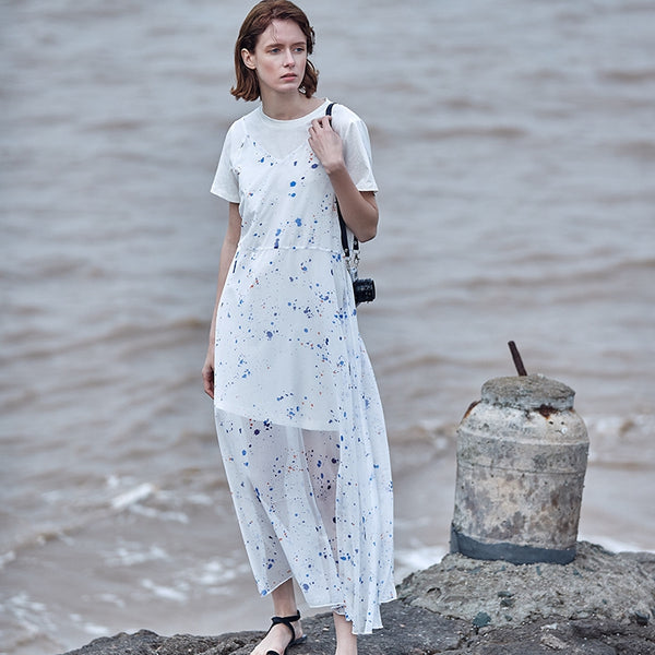 Women White Polka Dot Loose Strap Dresses With Shirt For Summer Q19067