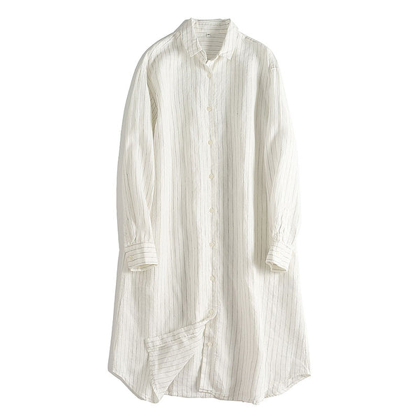 Loose White Striped Linen Shirt Dresses For Summer Q24060
