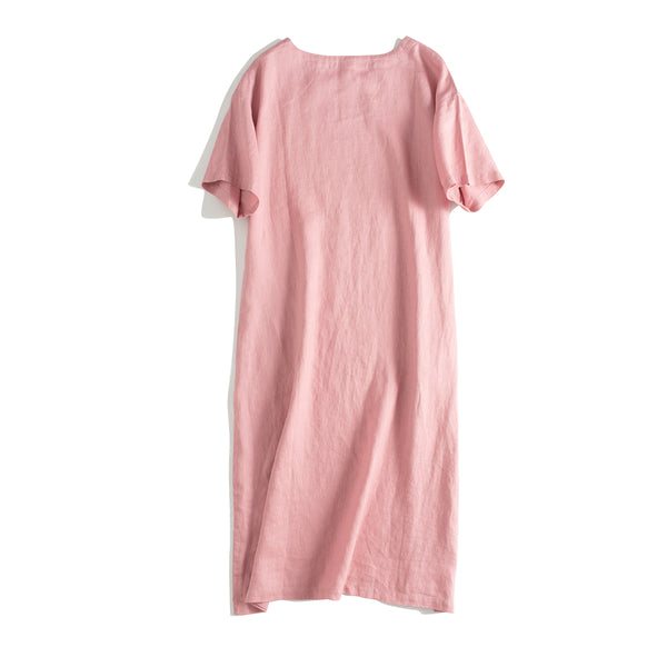 Women Casual Pure Color Linen Dresses For Summer Q24064