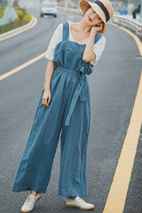 Women Summer Blue Linen Overalls Loose Wide-leg Suspender K9317