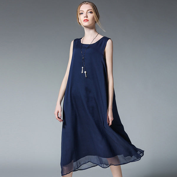 Plus Women Sleeveless Chiffon Dresses Loose Summer Clothes 6372