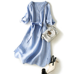 Linen Summer Dresses Blue White Stripe Linen Clothing For Women Q3569