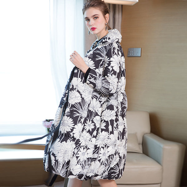 Black Loose Elegant Long Down Coat Women Winter Outfits 7869