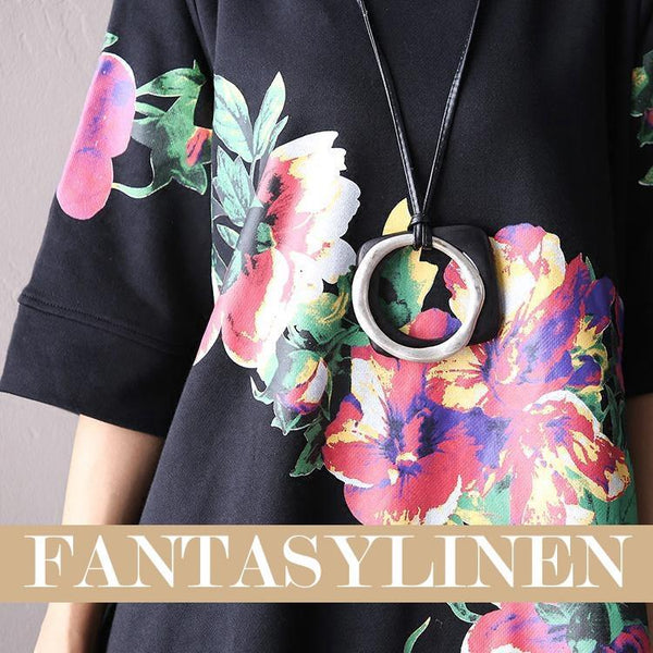 Black Big Flower High Collar Fleece Korean Loose Long Top Women Clothes F2001A - FantasyLinen