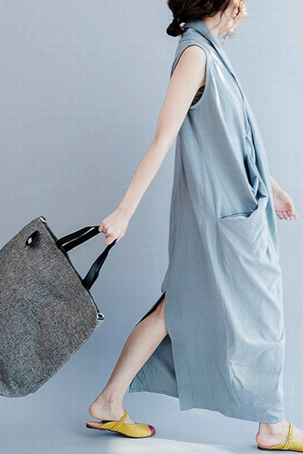 Gray Sleeveless Cross Summer long dresses Causal Dresses Plus Size Oversize Women Clothes Q6369 - FantasyLinen