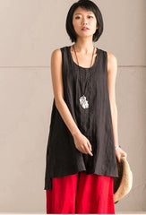 Black Cotton Linen Sleeveless Casual Long Shirt Summer and Spring For Women clothes B636B