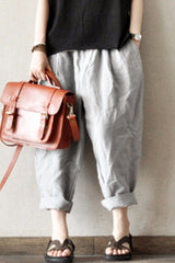 Gray and Orange Purple Turnip Pants Causal Linen Long Pants women Clothes LR465