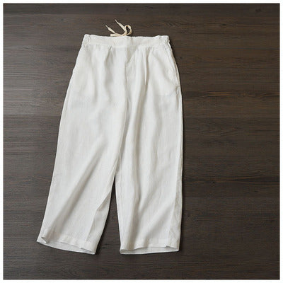 Women Loose Linen Pants Casual Drawing Summer Trousers K24061