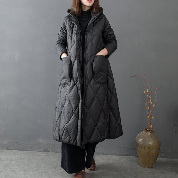 Casual Hoodie Long Down Coat Women Loose Winter Outfits C17127