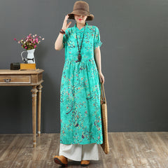 Vintage Loose Summer Floral Dresses Women Casual Long Outfits 7088
