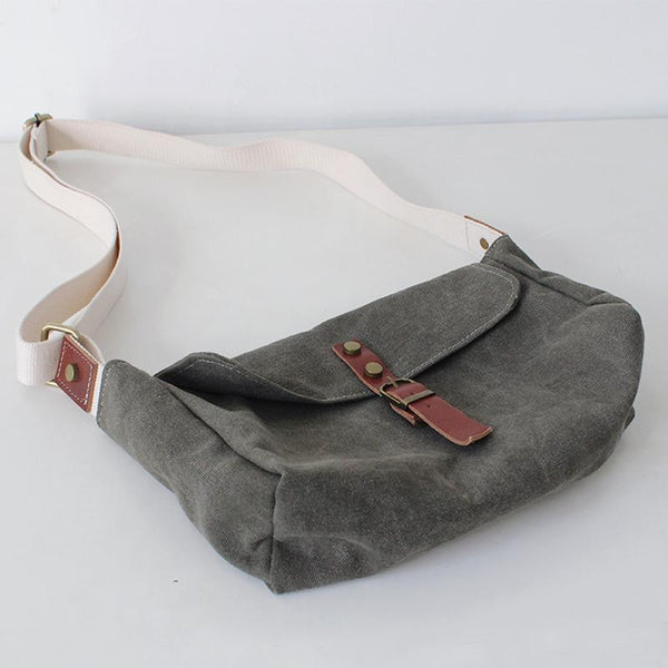 FantasyLinen Vintage Canvas Messenger Bag, Handmade Casual Shoulder Bag B50010 - FantasyLinen
