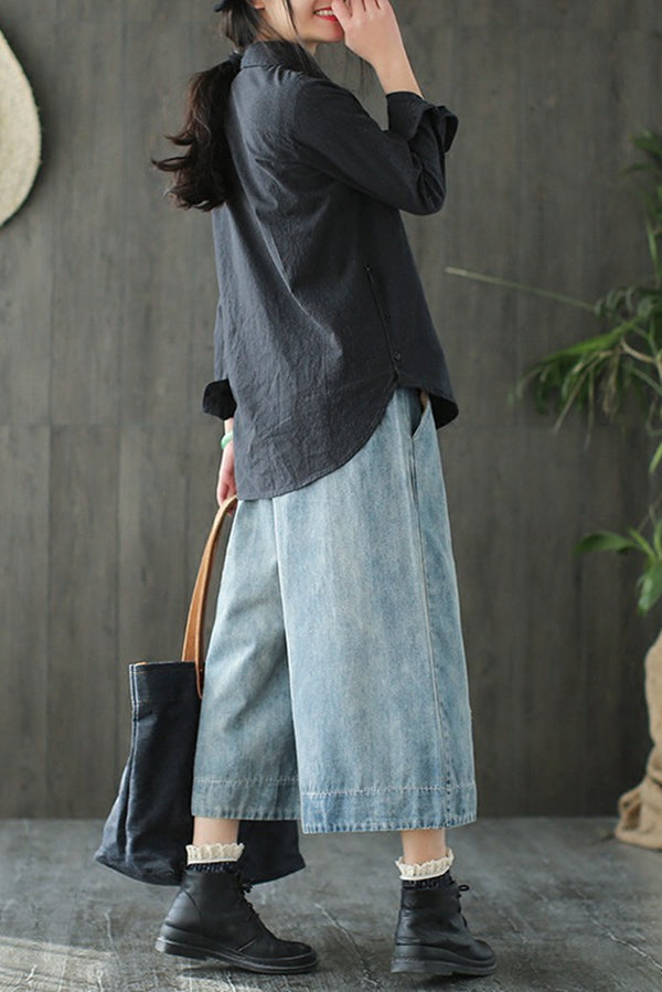 Embroider Birds Cowboy Jeans Wide-legged Pants Women Clothes K7102