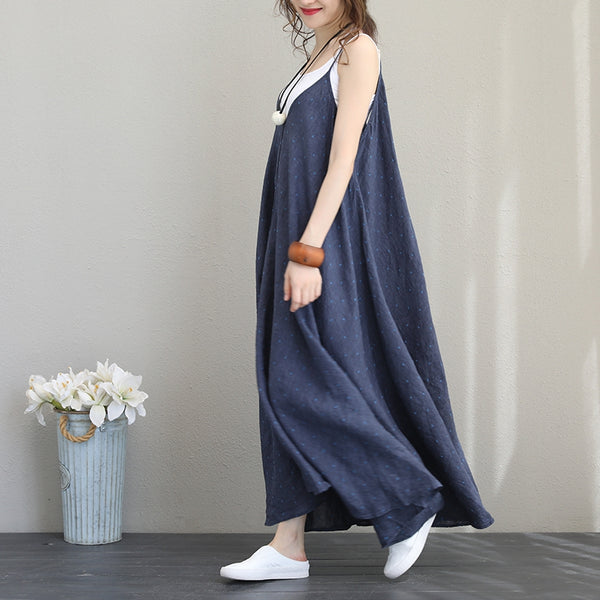 Fashion Sleeveless Strap Sundresses Women Linen Blue Clothes Q1193