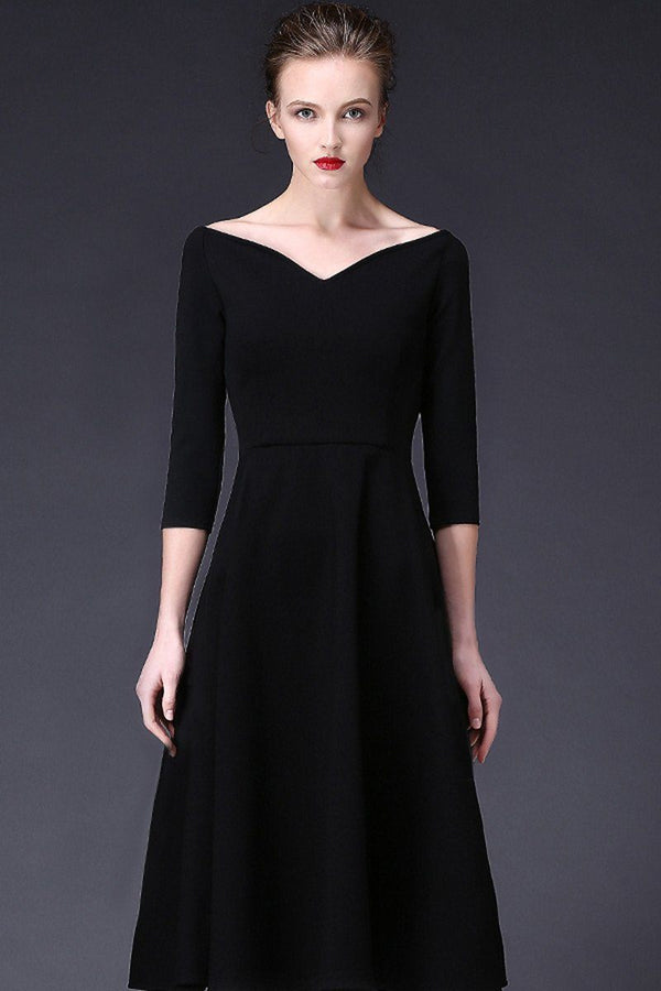 V-Neck Elegant Long Black Dress - FantasyLinen