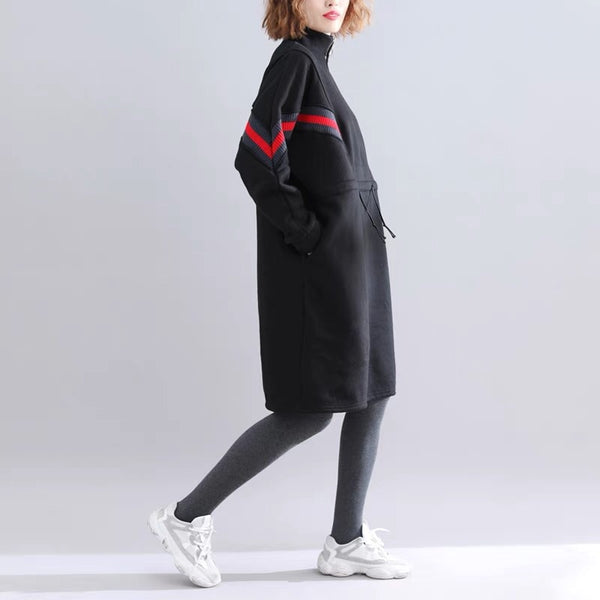Plus Size Casual Loose Cotton Warm Fleece Dresses Women's Winter Tops F6113