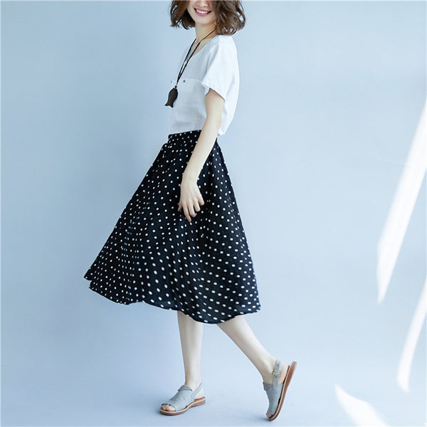 Casual Black Polka Dot Skirt Women Cotton Linen Outfits Q1871