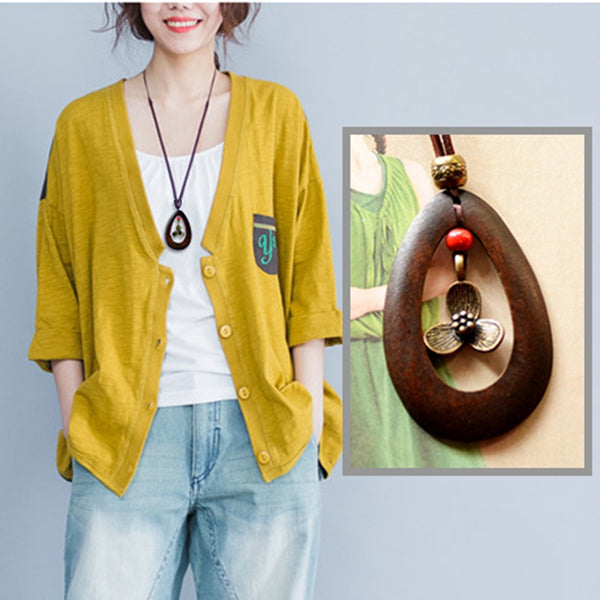 Vintage Leather Casual Metal Wood Necklaces For Women