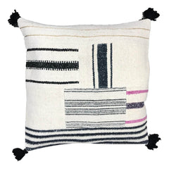 Berber floor cushion cover with pom poms 80 x 80 cm
