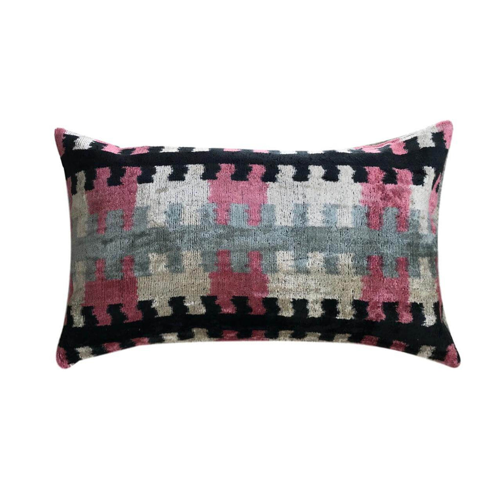 IKAT cushion cover - Black and Pink - Velvet - 30 x 50 cm