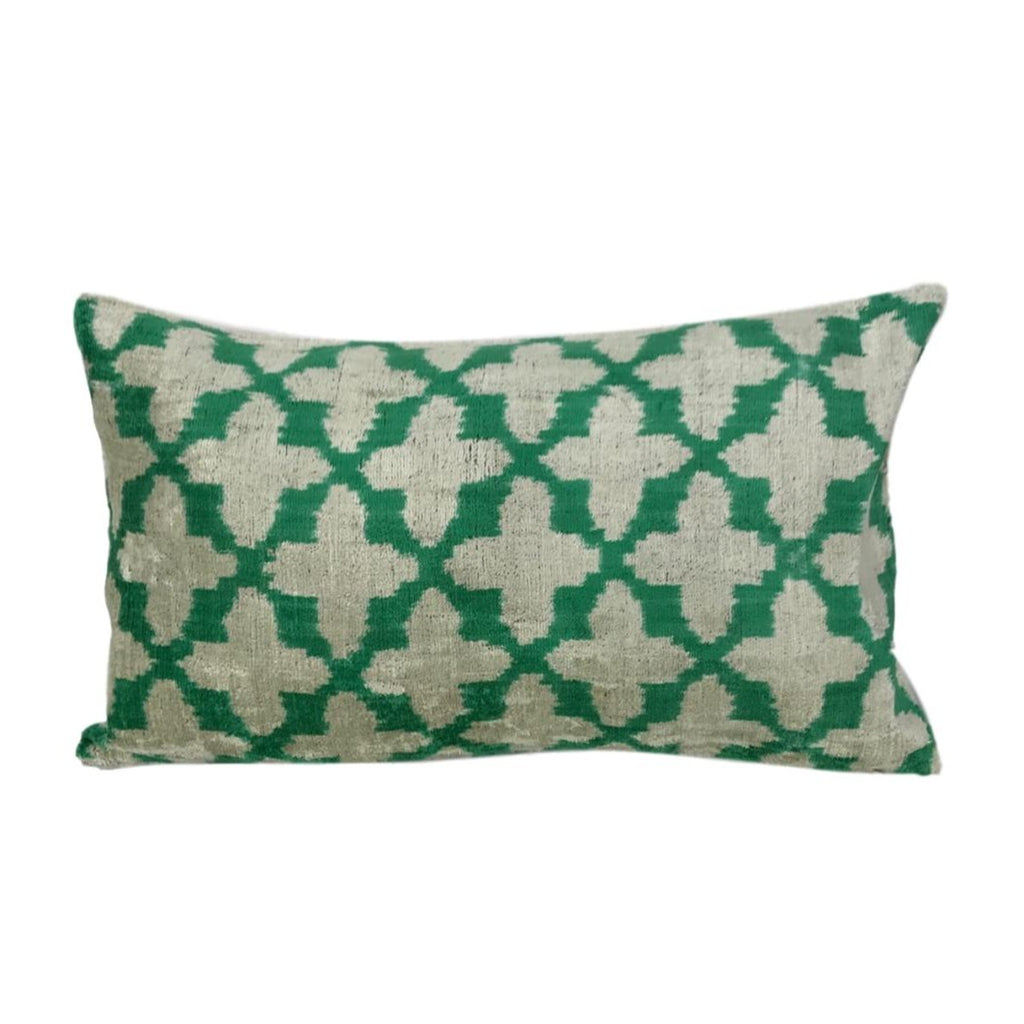 IKAT cushion cover - Green Velvet - 30 x 50 cm