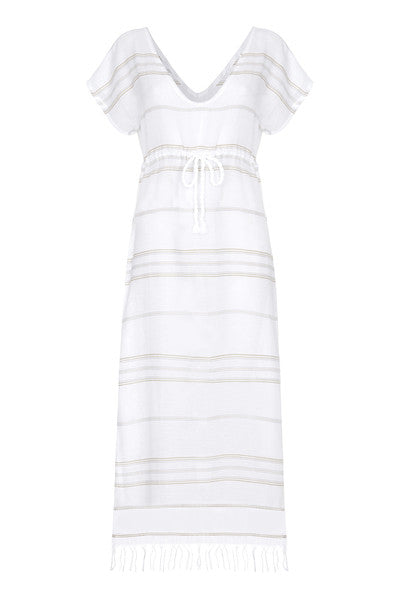 Front Maxi Cotton Beach Dress with beige stripes from my little wish