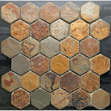 "Multicolored Rusty Slate Hexagon 2"" Mosaic"