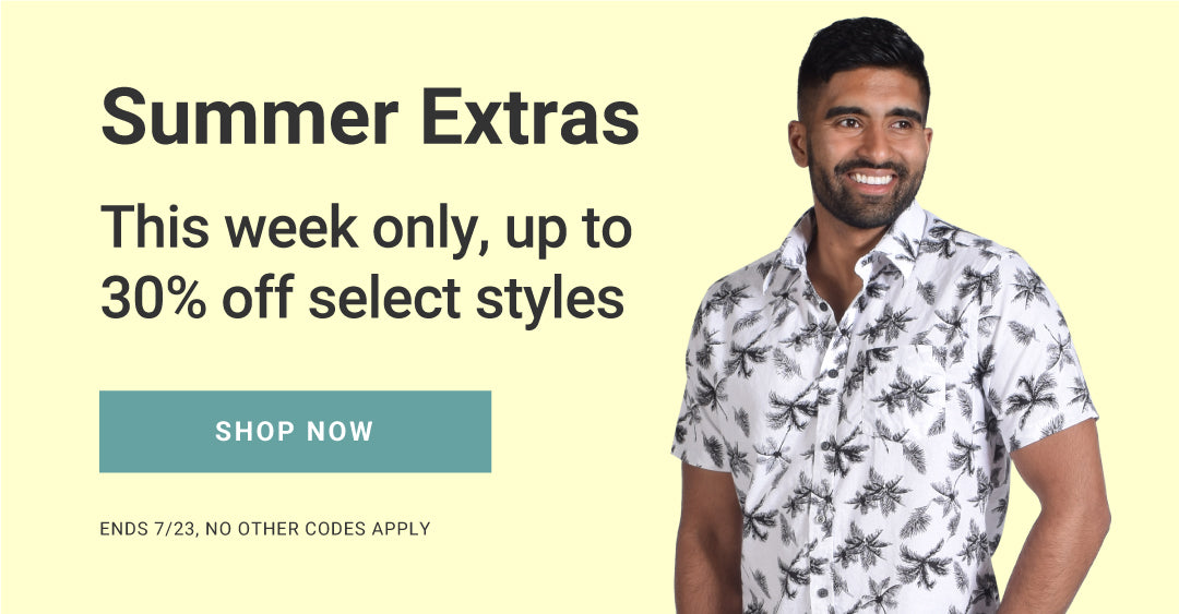 Summer Extras - This week only, up to 30% off select styles. Shop now. Ends 7/23, no other codes apply.