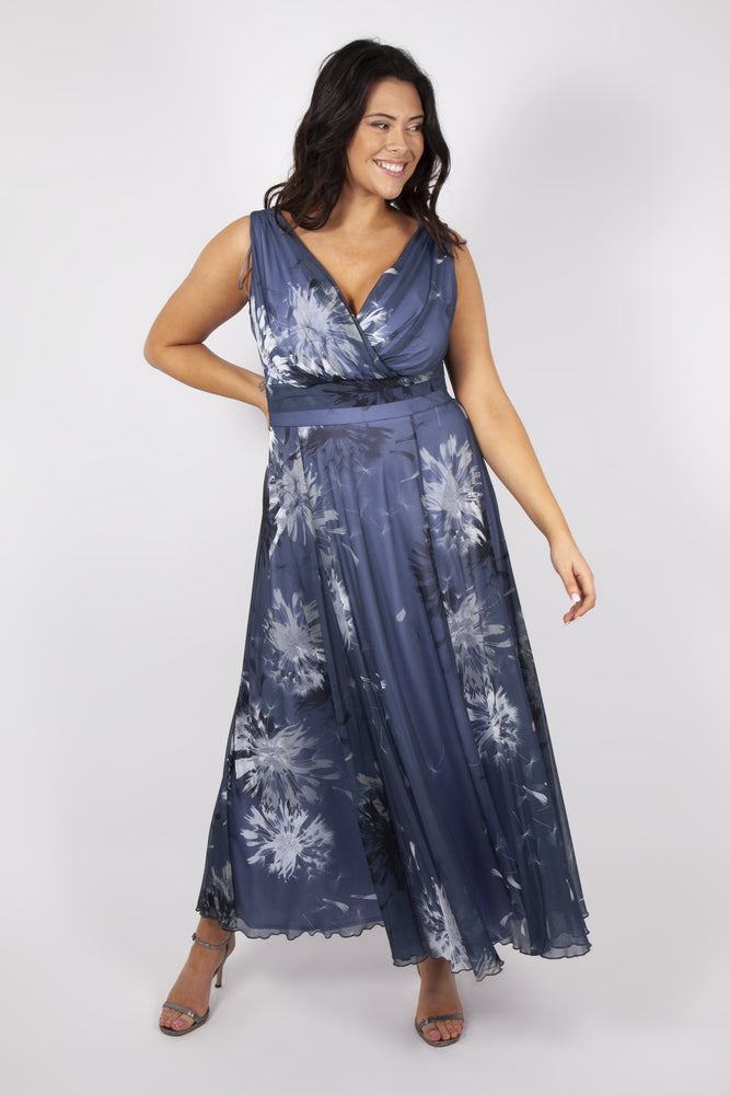 Amelia Dove Grey Chiffon Print Maxi Dress
