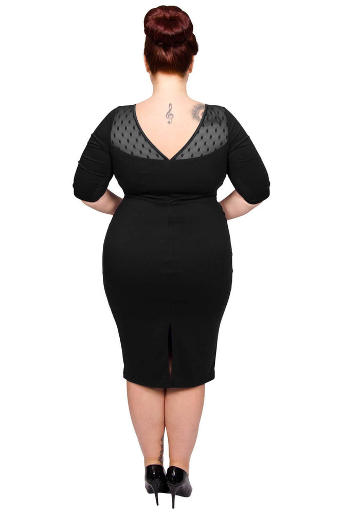 Scarlett & Jo Dresses Black / 12 Spot Mesh Sweetheart Neck Bodycon