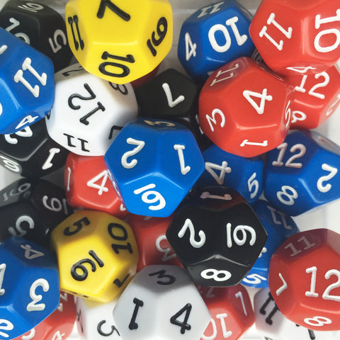 Dodecahedral dice (1-12)