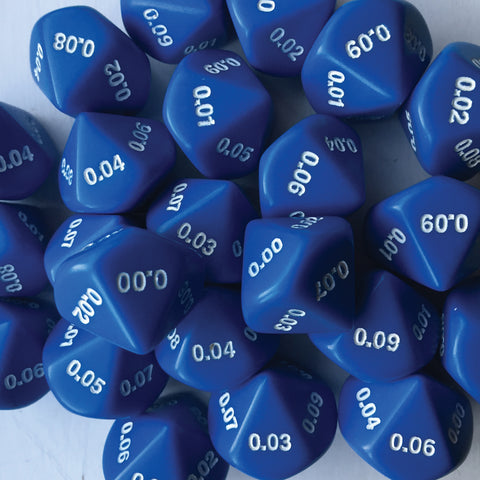 Decahedral hundredths dice (0.00-0.09)