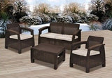 Patio Set Furniture Outdoor Wicker Chairs Table Sofa With Cushions Garden Bistro - ShopMonkeez  - 4