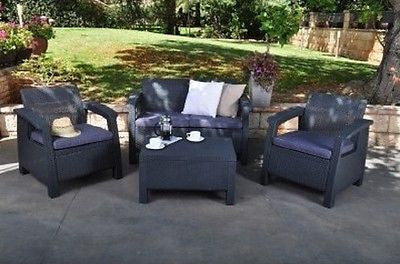 Patio Set Furniture Outdoor Wicker Chairs Table Sofa With Cushions Garden Bistro - ShopMonkeez  - 1