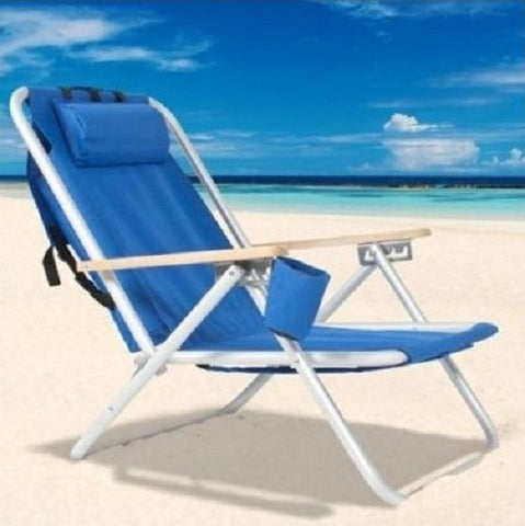 Backpack Beach Chair Blue Resin Wicker Powder Coated Aluminum Frame Cup Drink Holder - ShopMonkeez  - 1