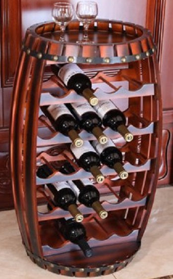 Barrel Wine Rack Wood Display Holder
