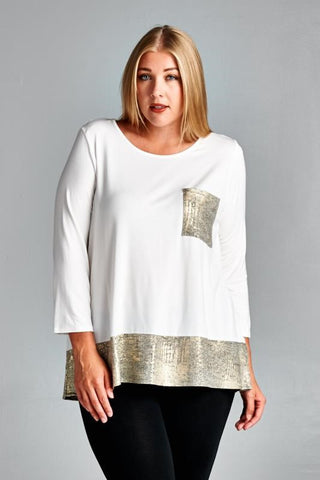 Plus Size 3/4 Sleeve Embroidered Long Tunic