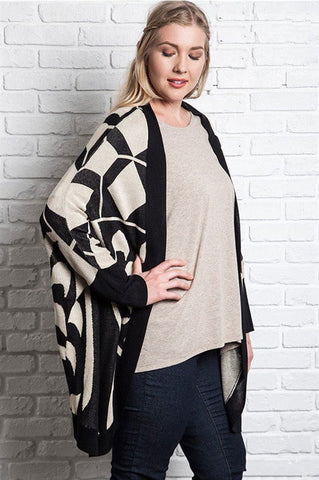 Plus Size Tribal Kimono With Pom-Pom Trim