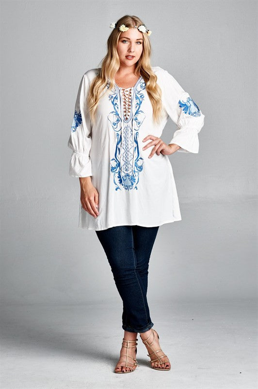 plus size 3/4 sleeve embroidered tunic