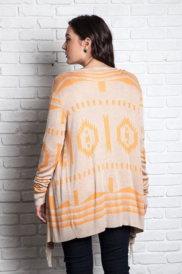 Plus Size Tan Frayed Southwestern Cardigan