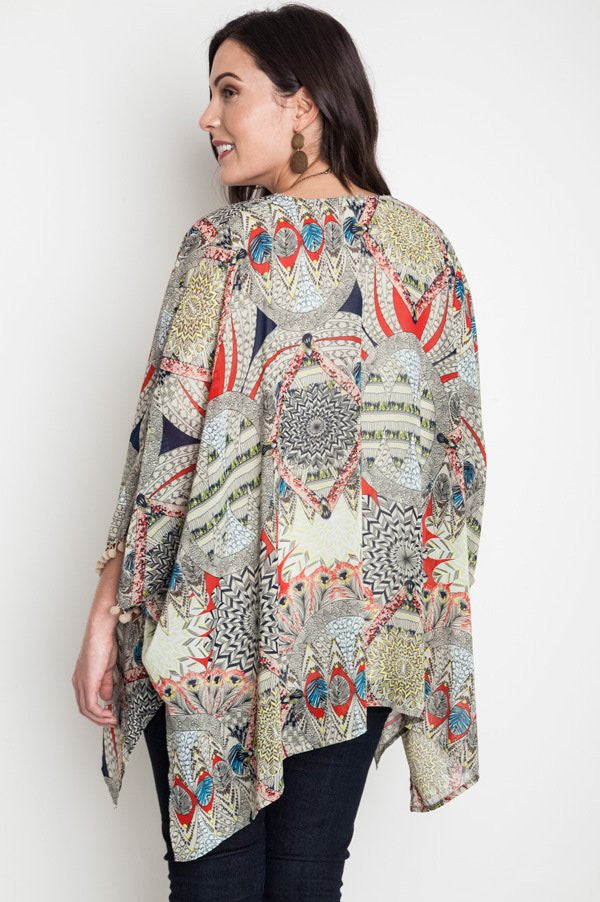 Plus Size Taupe Tribal Kimono With Pom-Pom Trim