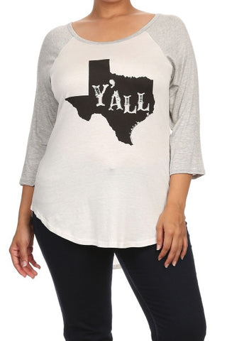 "Plus Size ""True Love"" Graphic Tee - Heather Gray/White"