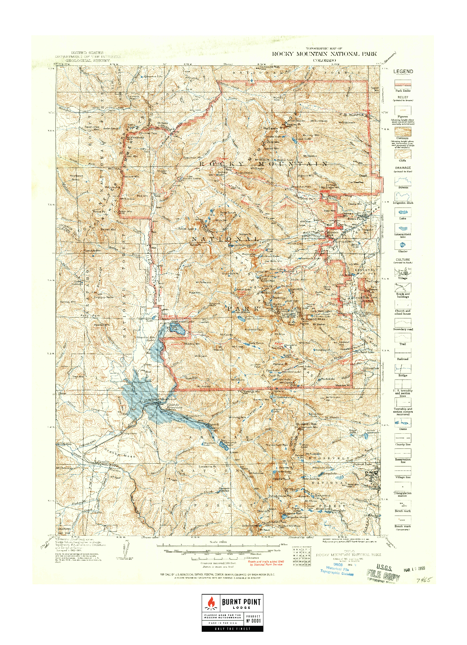 Vintage Map - Rocky Mountain National Park (1915)